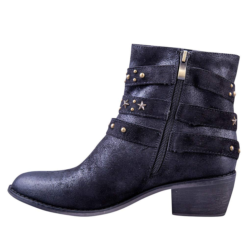 sheart 9 Fashion Women's Stacked Heel Ankle Boots Faux Seude Rivets Pointed Toe Casual Shoes Side Zipper Western Booties Black by sheart 9