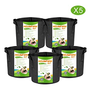 MELONFARM 5-Pack 1 Gallon Plant Grow Bags - Smart Thickened Non-Woven Aeration Fabric Pots Container with Strap Handles for Garden