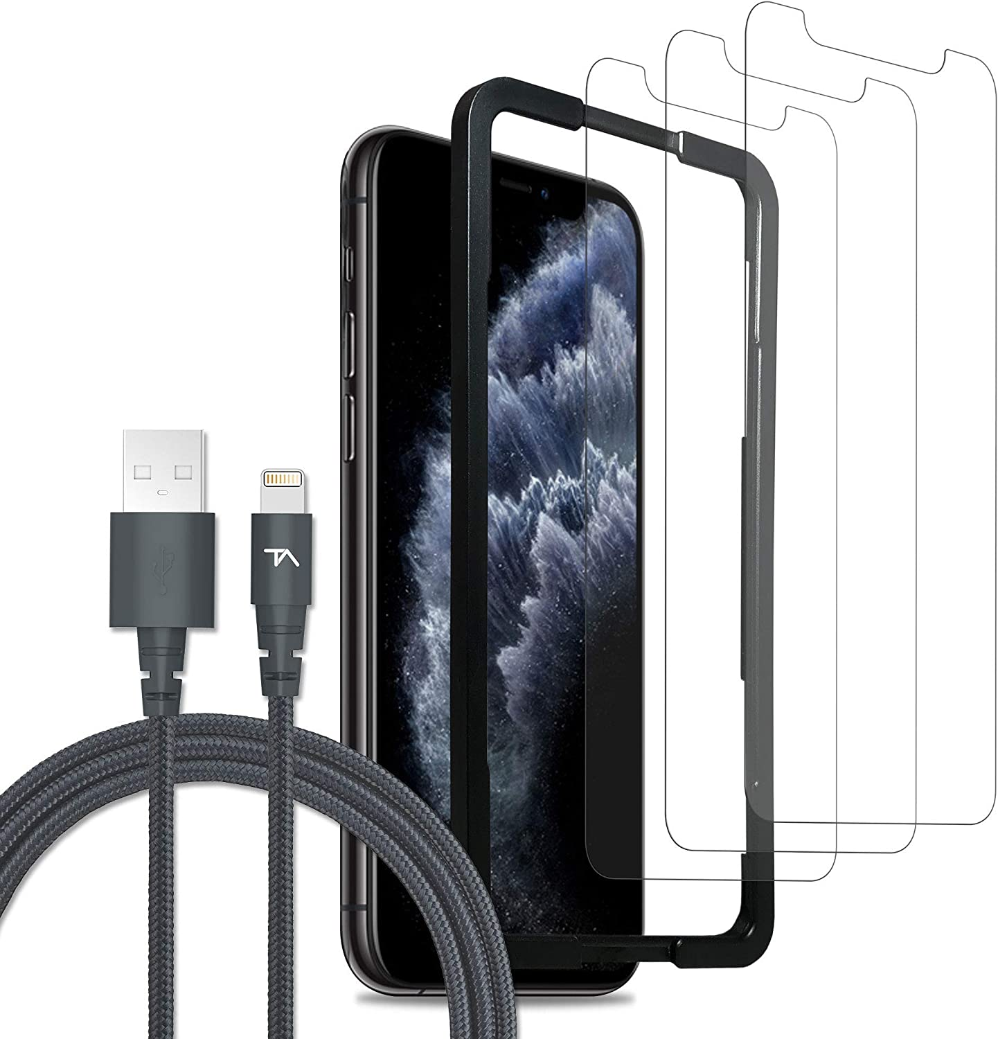 Tech Armor Ultimate Protection Bundle for Apple iPhone 11 Pro, Xs, X - Apple MFi Certified Lightning Cable [Space Gray] and Ballistic Glass Screen Protector [3 Pack] with Easy Installation Tray