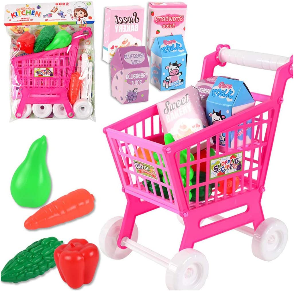 Childrens Trolley Toy Childrens Shopping Cart Toy Groceries Pretending Toys Groceries