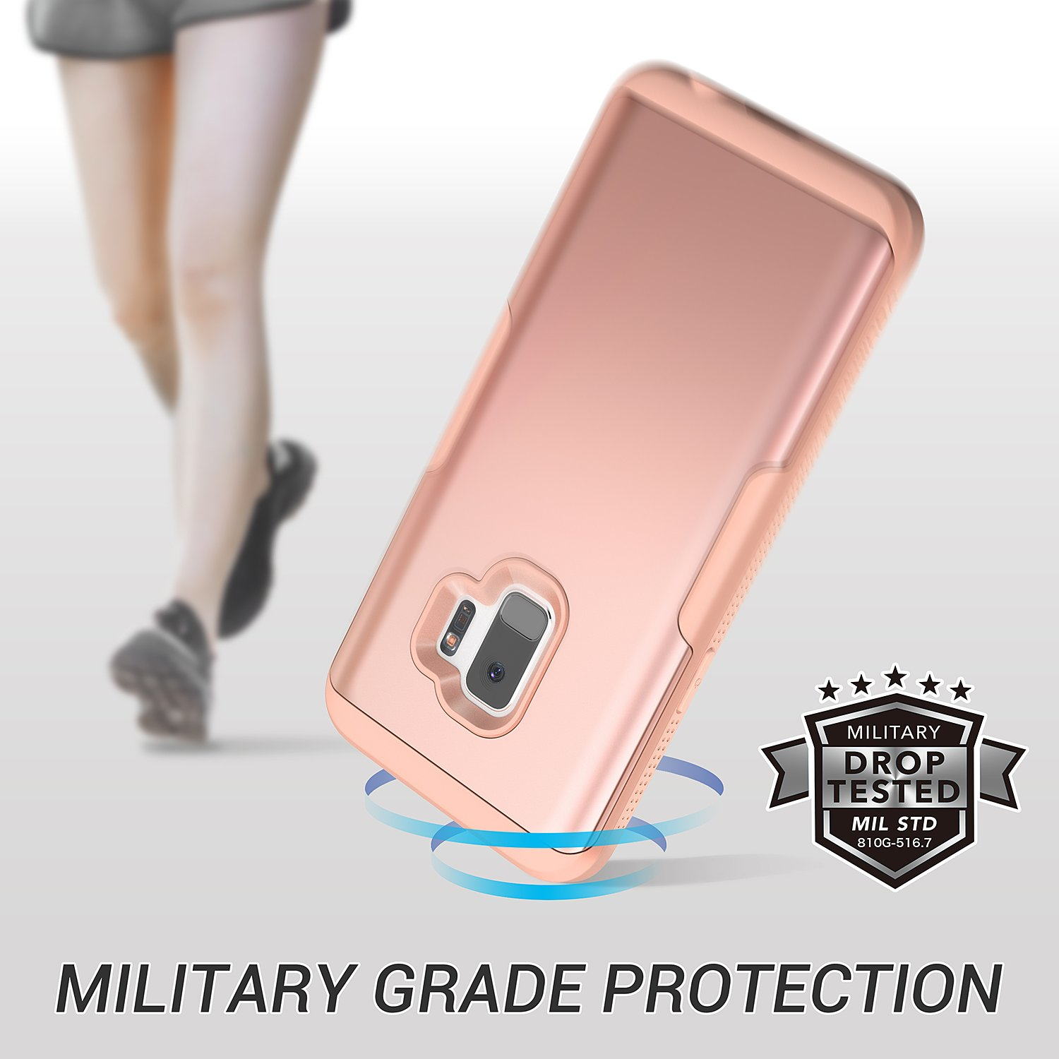 Galaxy S9 Case, YOUMAKER Rose Gold with Built-in Screen Protector Heavy Duty Protection Shockproof Slim Fit Full Body Case Cover for Samsung Galaxy S9 5.8 inch (2018) - Rose Gold/Pink by YOUMAKER (Image #2)