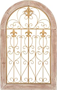 SOPRETY Vintage Window Frame Wall Decor, Hanging Art Pane Arch Decor, Gold Metal Pane with Wood Frame Decoration for Living Room, Bedroom, Office, 19x30.1in