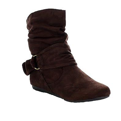 40631d7722e Women's Fashion Calf Flat Heel Side Zipper Slouch Ankle Boots