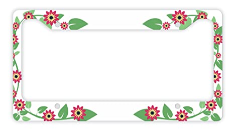 Amazon.com: ThisWear Flower License Plate Frame Red Flower Gifts ...