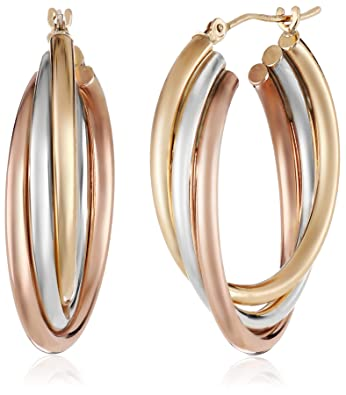 Amazon 14k Gold Bonded Sterling Silver Tri Color Hoop