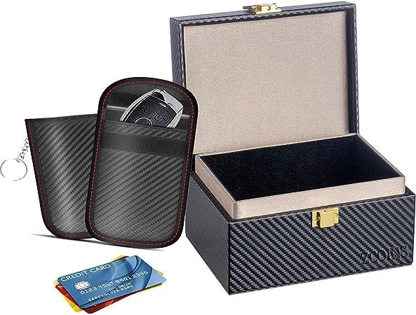Faraday Box & 2 Dual-Layer Pouches Value Bundle, Car Key Signal Blocker Box, Keyless Entry RFID Blocking Set, Protects Any Car Key with Industry Leading Faraday Protection