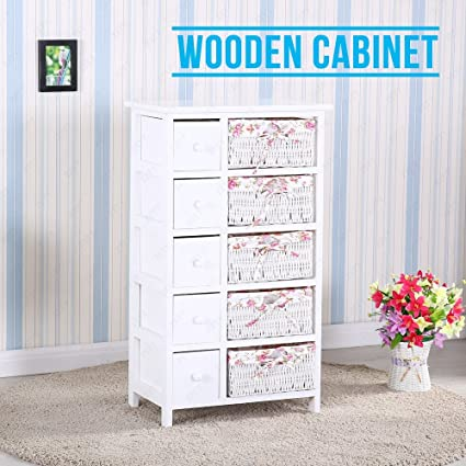 SUNCOO Retro White Wood Shabby Chic Nightstand End Side Bedside Table  W/Wicker Storage 5