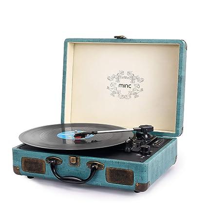 Tocadiscos Miric Vintage, disco giratorio Bluetooth con 2 ...