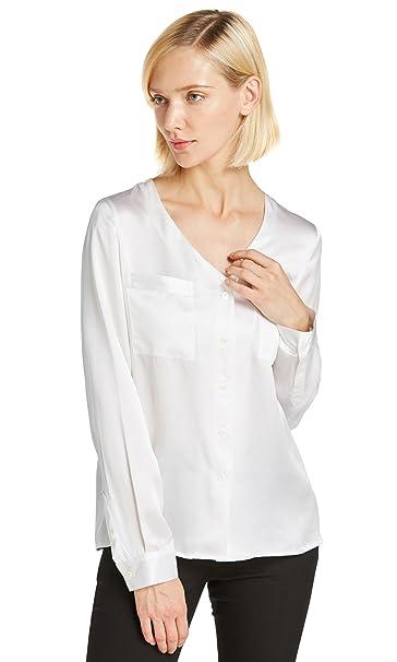 Lilysilk Camisa Mujer de Seda de 22MM Cuello V, Blanco XS