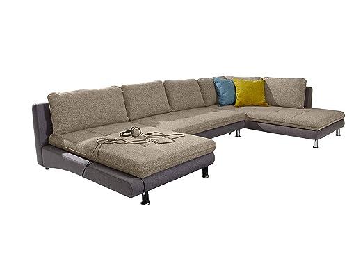 Cavadore Wohnlandschaft Loungines Sofa In U Form Mit Bett Und