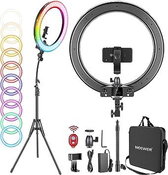 Todo para el streamer: Neewer Aro de Luz 18 Pulgadas con Soporte 42W Regulable Bi-Color 3200K-5600K CRI 95+ Aro de Luz LED con 0-360 Todo Color 9 Modos de Escenas Especiales para Selfie Fiesta Vlog Youtube Video etc.