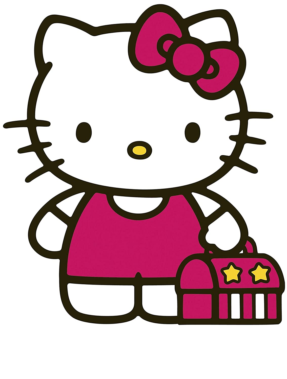 """8"""" Tricycle Hello Kitty Sanrio Removable Peel Self Stick Adhesive Vinyl Decorative Wall Decal Sticker Art Kids Room Home Decor Girls Children Nursery Baby 6x8 Inch Tall"""