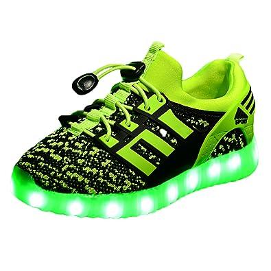 Yeeper LED Leuchtende Bunte Sneaker Turnschuhe Unisex Kinder Jungen Mädchen USB Auflade Sportschuhe Leichte Schuhe 1832 Blau 27 B7DDL86q8