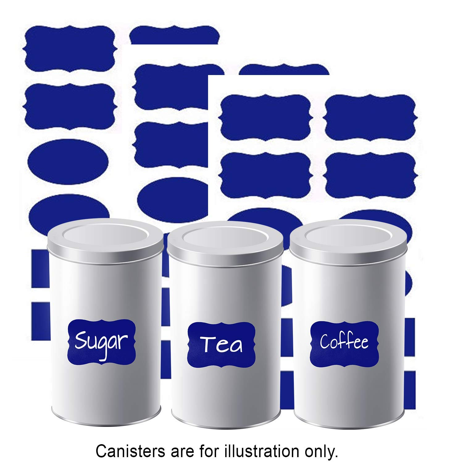 Blue Chalkboard Labels Vibrant Color Kitchen Organization of Bins/Boxes/Spice Jars/Containers Erasable Reusable Black Board Vinly Label Waterproof Adhesive Stickers Decal Craft Gift, 36 Piece by FIVESTARS (Image #2)