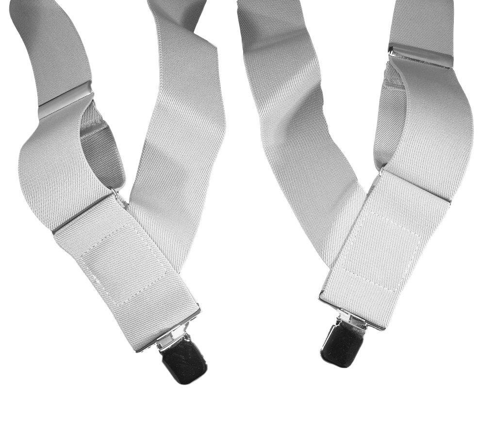 2'' Wide Holdup Brand Hip-clip Trucker Style all White work Suspenders
