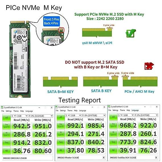 AIMOS Tipo-C a NVMe M.2 Adaptador SSD PCIe de Alto Rendimiento ...