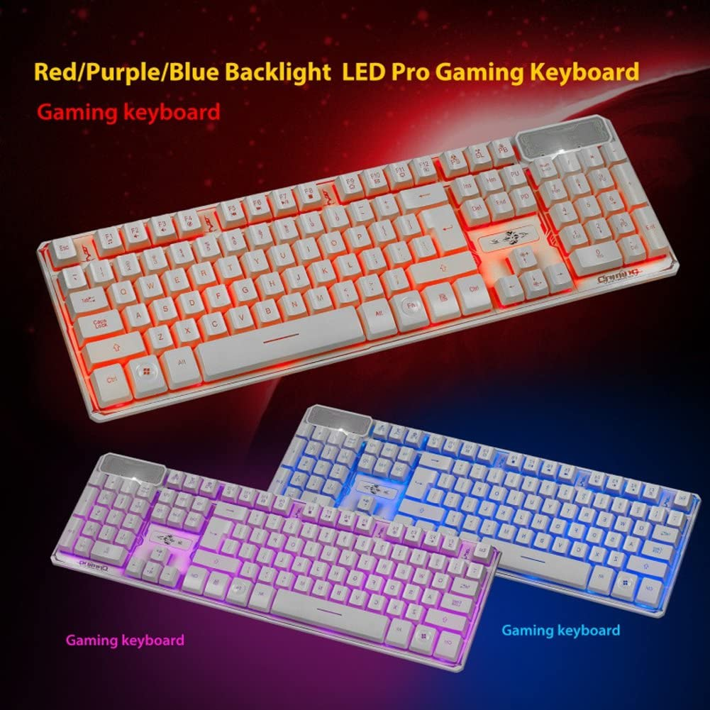 Color : White XUNHANG White Gaming Keyboard White 104 Key LED Backlit Keyboard