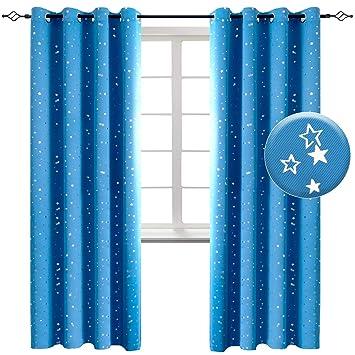 BGment Vorhänge Blickdicht Sterne mit Ösen Gardine Thermo isoliert für  Baby, Kinderzimmer,Blau Verdunkelungsvorhänge 1 Paar (2X H 182 XB  117cm,Blau)