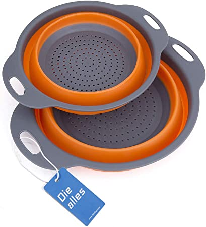 SILICONE FOLDING COLANDER is compact collapsible use camping caravan tent blue
