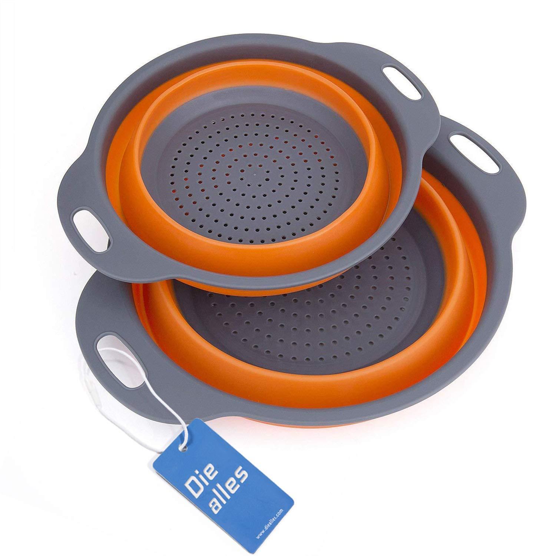 Scolapasta Set Diealles Scolapasta Pieghevole in Silicone Filtro Cucina In Silicone Pieghevole Filtro Cestino per Cucina Domestica O Campeggio Blu