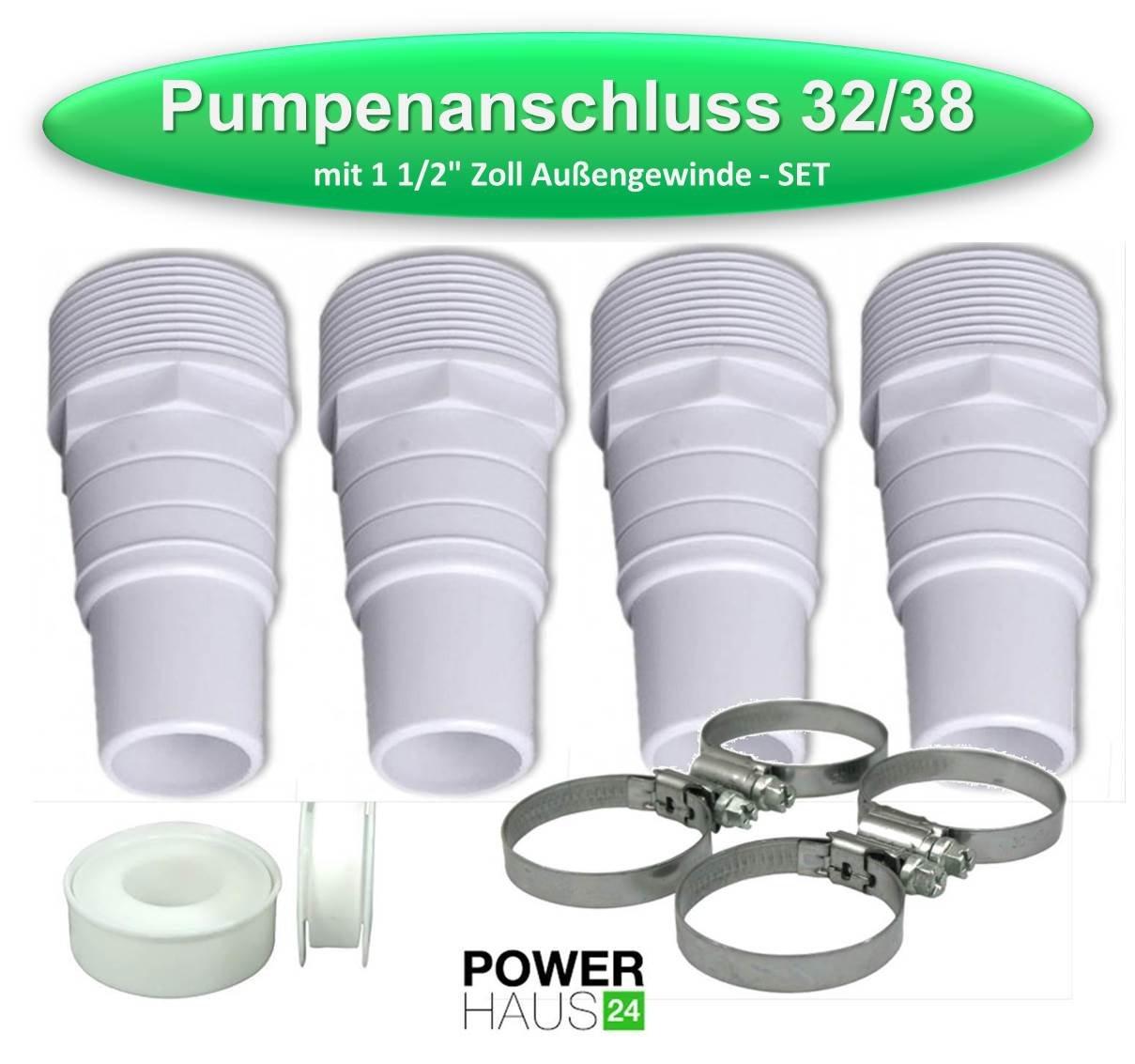 Pumpenanschluss 32//38mm mit 1 1//2`Aussengewinde 2er Pack