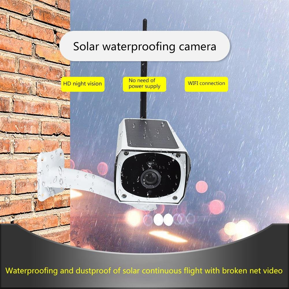 Solar Waterproof Outdoor IP Camera Wifi Wireless Security System Surveillance with Night Vision, Remote View and Control, Motion Detection and Push Alerts, IR Night Vision, Support iOS Android Windows