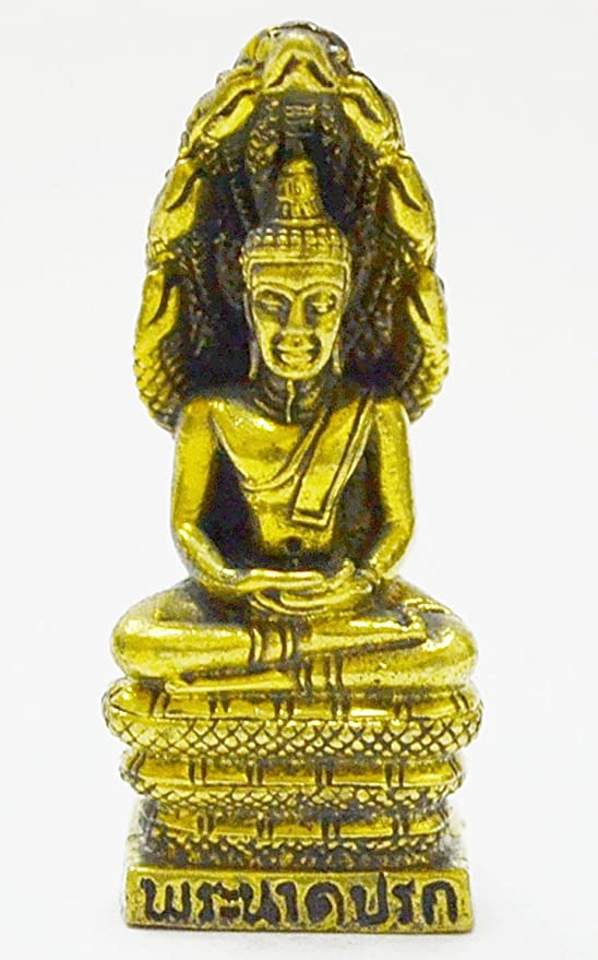 Thai amulet brass Buddha powerful Miniature Figurine NAGA Statue Protect Lucky