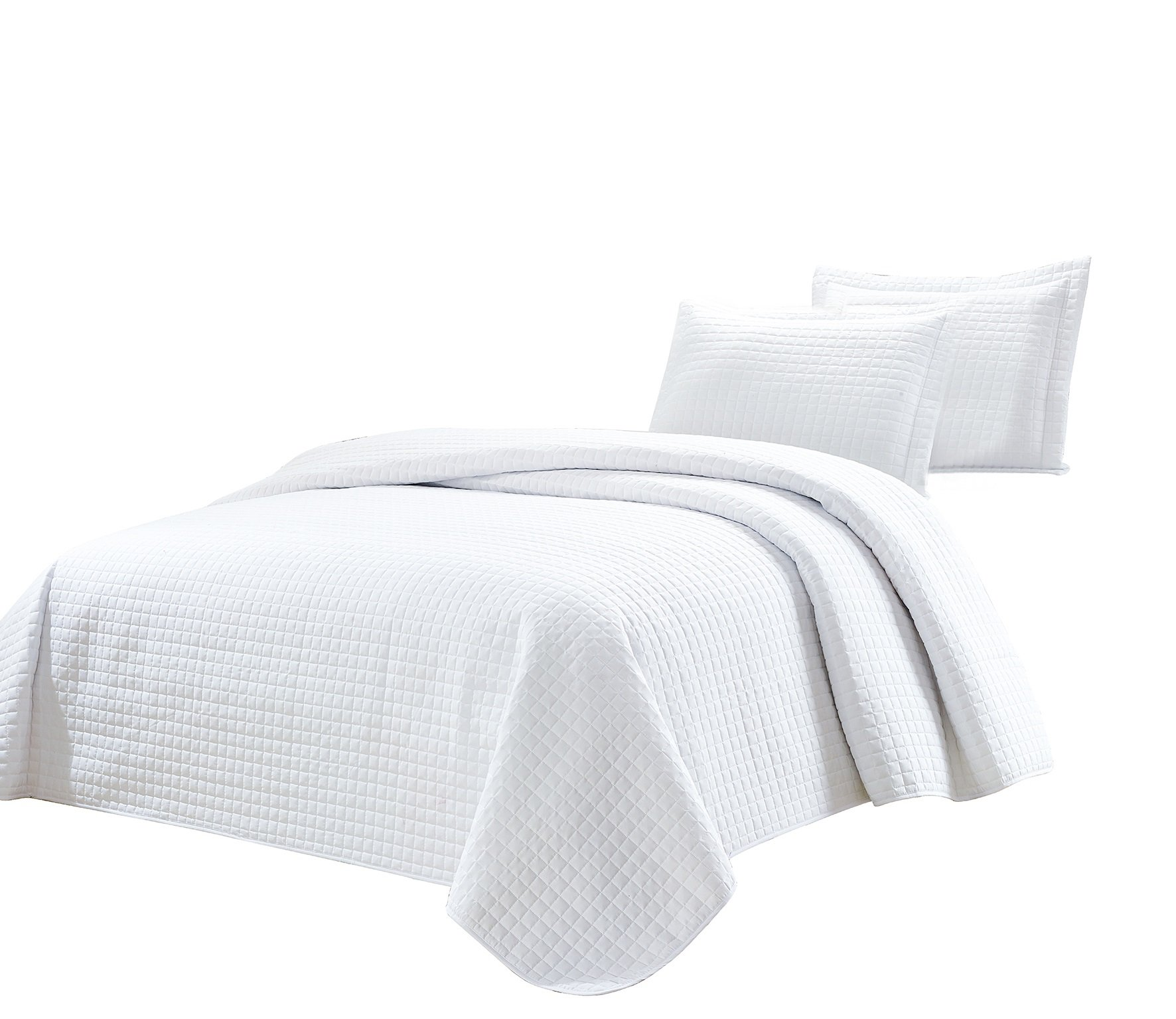 Chezmoi Collection 3-Piece Solid Modern Quilted Bedspread Coverlet Set (King, White) by Chezmoi Collection