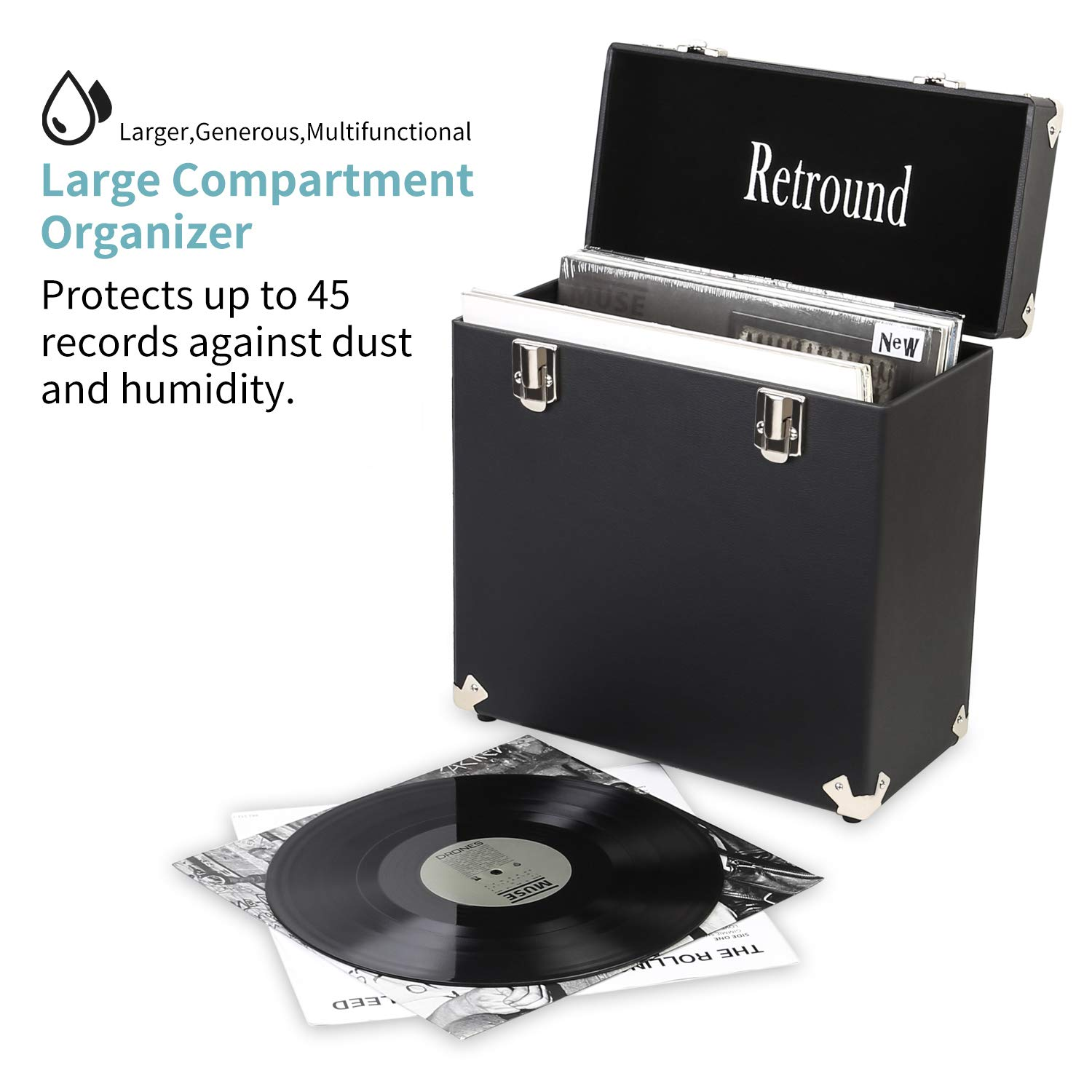 Retround Vintage Retro Vinyl leather Record Holder Case, LP Storage Carrying Case for 78 rpm, 45 rpm, 33 rpm Standard Size Vinyl Records Collections Storage Organizer Display Box-12 in (Leather Black) by Retround