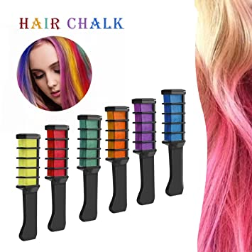 Hair Dye, Hair Chalk Comb Pink Hair Brown Curly Hair Dye Kit Temporary Hair Color for Women Men 6 pack (Hair Chalk Comb): Amazon.co.uk: Beauty