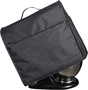 Stand Mixer Dust Cover for Kitchen Aid Tilt Head Stand Mixer, 4.5-5 Quart Mixer Accessories Cover with 4 Pockets and Handle (Black)