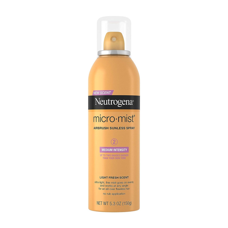 Neutrogena Micromist Airbrush Sunless Tanning Spray, Gradual Sunless Indoor Tanner with Witch Hazel, Alcohol-Free, Oil-Free & Non-Comedogenic Formula, Medium Intensity, 5.3 oz
