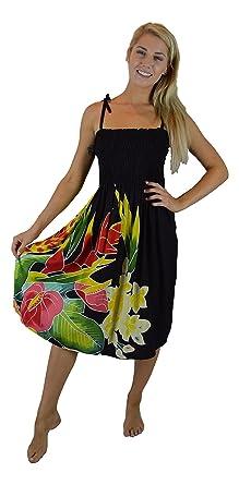 51399fadc8e4 Island Style Batik Dress - Tropical Bouquet Design (Black w/ Tropical  Bouquet) at Amazon Women's Clothing store: