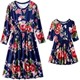MISSugar Family Matching Floral Print Scoop Neck 3/4 Sleeve Dresses Mommy and Me High Waist Maxi Midi Dress