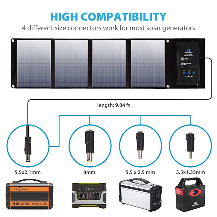 PAXCESS Foldable 50W Solar Panel Charger with included different size of connectors(8mm DC Adapter for Goal Zero, 5.5 * 2.5mm DC Adapter for Suaoki portable Generator and 3.5 * 1.35mm DC Adapter for Paxcess portable Power Generator), and 5V USB devices