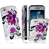 Für Samsung i9190 Galaxy S4 MINI Tasche Flip Case PU Leder Vertikaltasche Funktiontasche Handytasche Flip Style Schutzhülle in Rose Design