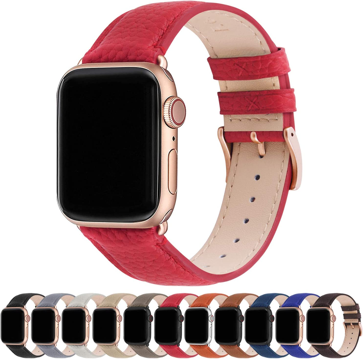 Fullmosa Compatible Apple Watch Band 44mm 42mm 40mm 38mm Leather Compatible iWatch Band/Strap Compatible Apple Watch SE & Series 6 5 4 3 2 1, 38mm 40mm, Red + Rose Gold Buckle