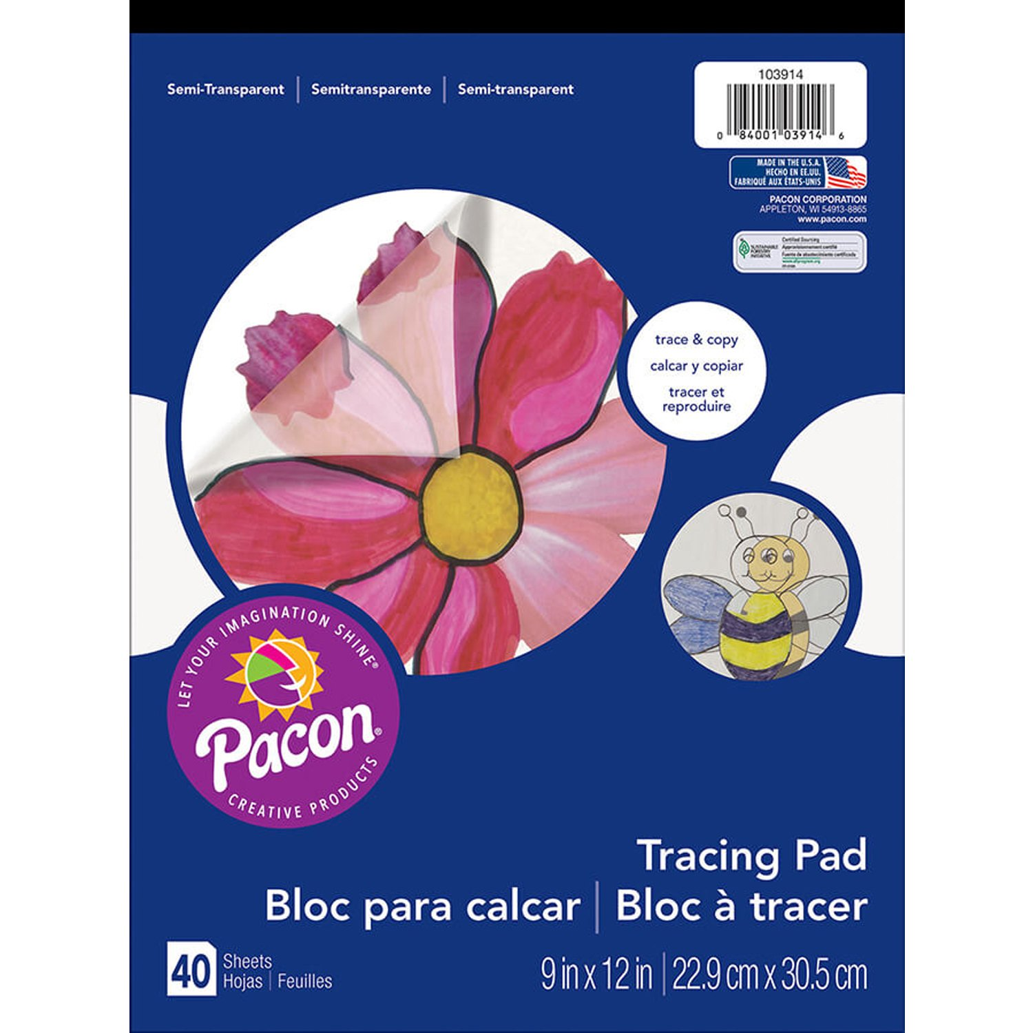 Pacon Art Street Tracing Paper Pad, Translucent, 9'' x 12'', 40 Sheets Per Pad, 10 Pads by PACON
