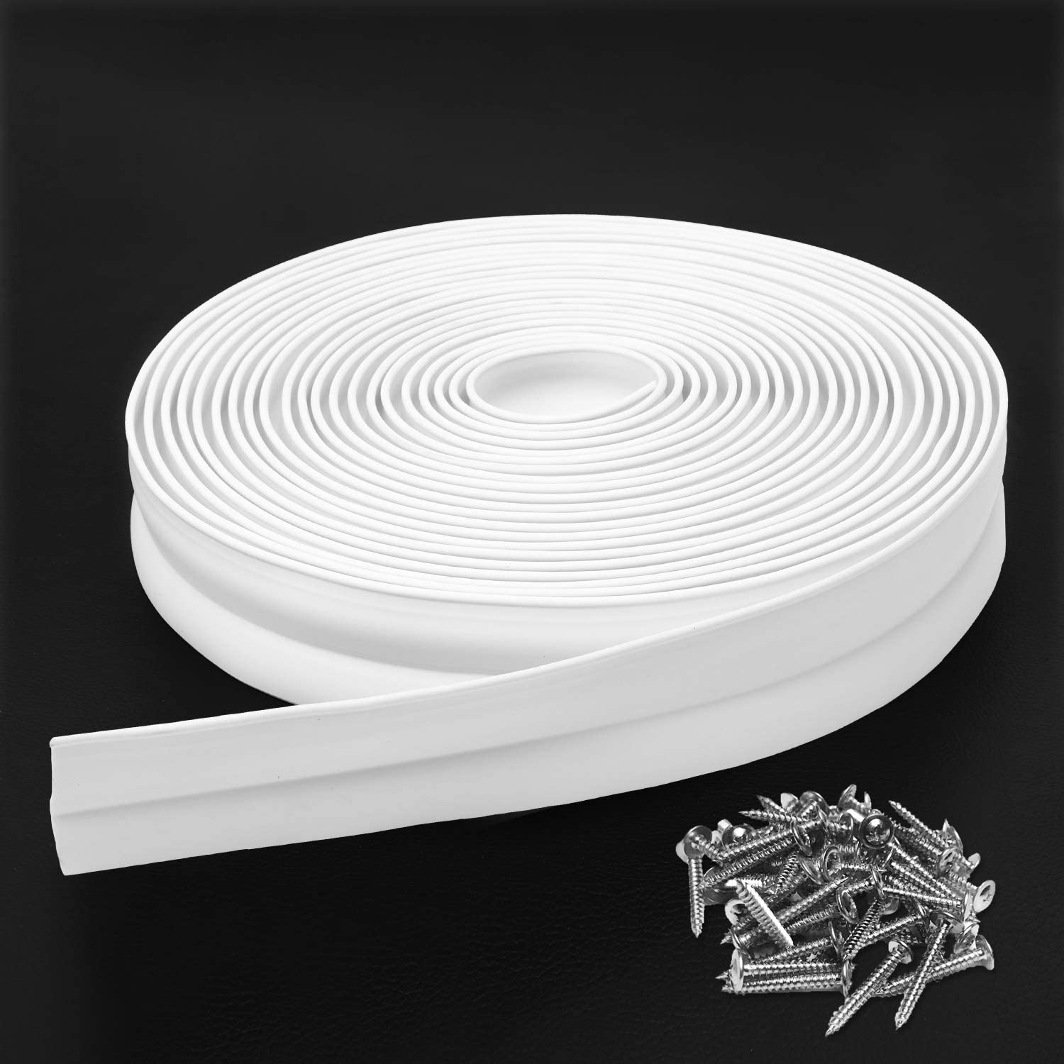Weather Resistant PVC Eapele 30Ft Garage Door Weather Stripping Seal Top and Sides White
