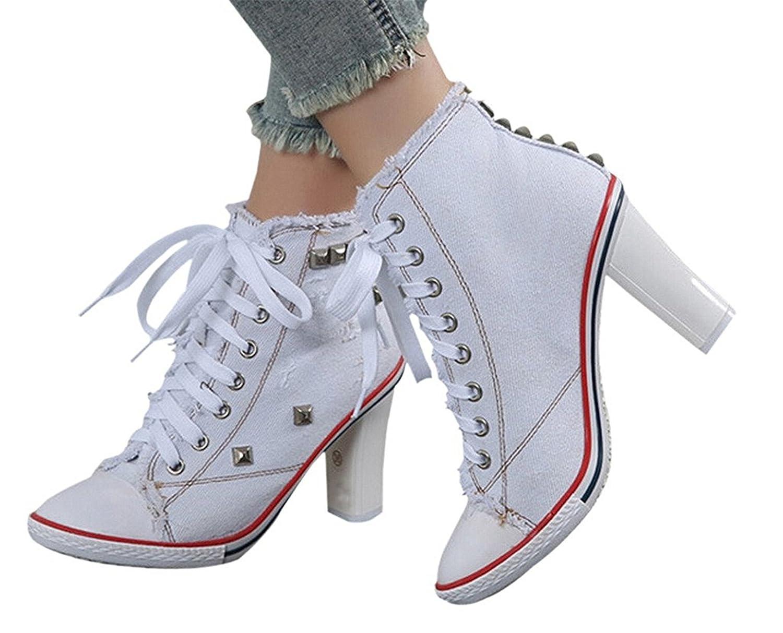 fbd4a5e495f 70%OFF bangfox Women's Rivet Canvas Round Toe Lace Up Sneakers ...