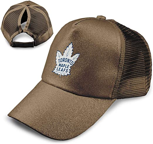 Hockey-Logo-Toronto-Maple-Leafs Adjustable Ponytail Messy Buns,Trucker Baseball Cap Coffee