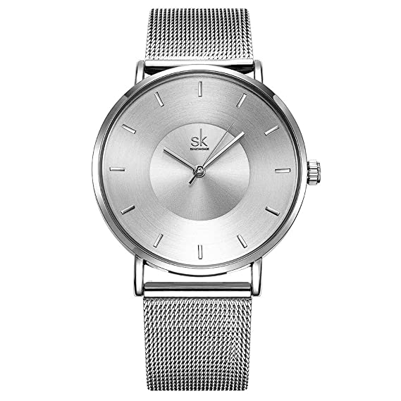 Amazon.com: Women Simple Mesh Bracelet Watch Girl Stainless Steel Band Analog Watches (59 Silver): Watches