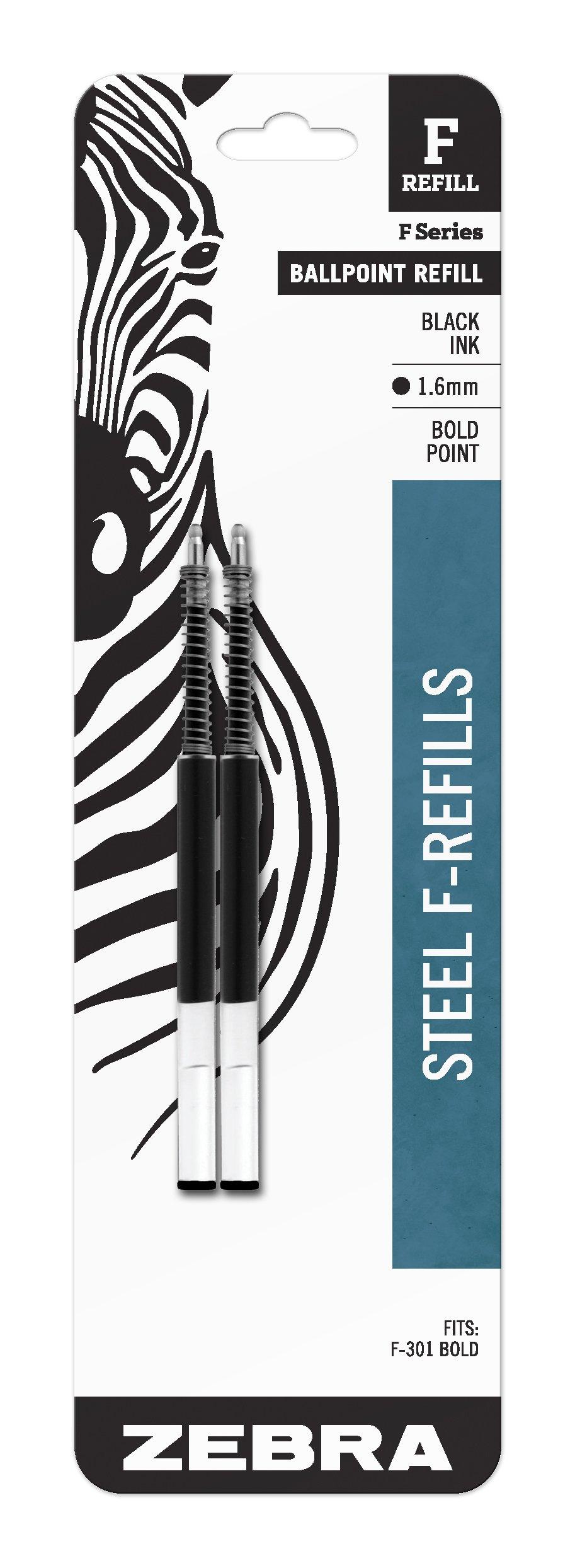 Zebra F-Series Ballpoint Stainless Steel Pen Refill, Bold Point, 1.6mm, Black Ink, 2-Count