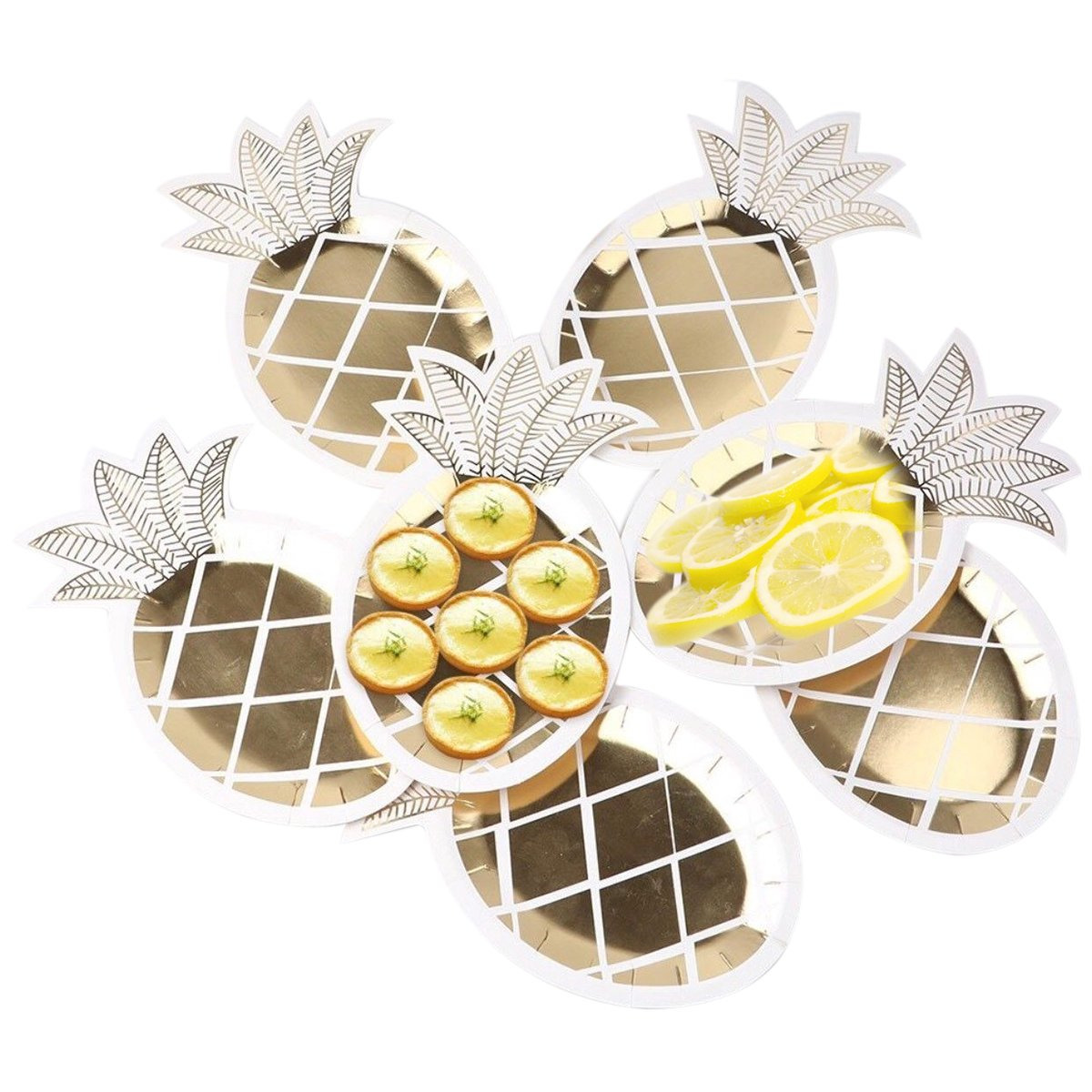 wivarra Party Plates, Disposable Tableware Set 8 pcs Gold Foil Pineapple Party Plates Hawaiian Party Supplies Fruit Pattern Paper Plates for Tropical Jungle BBQ Birthday Party Supplies