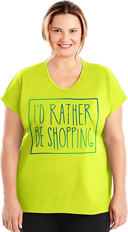 JUST MY SIZE Womens Plus Size Active Dolman Graphic Tee