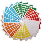 LJY Rectangle Stickers Small Color Coding Labels 1.5 inch by 0.5 inch, 6 Different Colors Assorted, 24 Sheets, 336 Dots