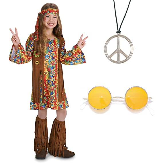 Vintage Style Children's Clothing: Girls, Boys, Baby, Toddler Fringe 60s Hippie Child Costume Kit $28.56 AT vintagedancer.com