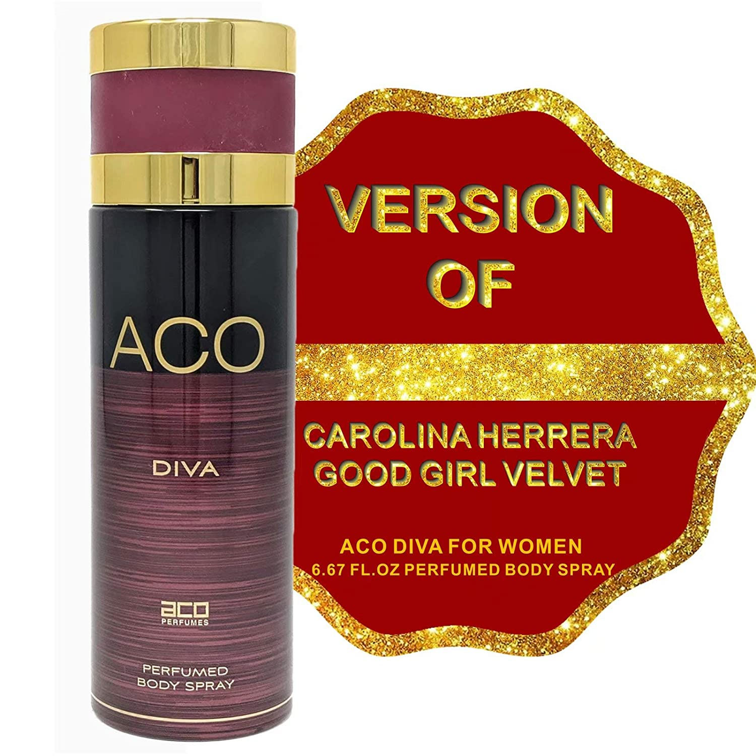 ACO DIVA Deodorant Body Spray for Women, Light Floral Scent Body Mist Spray Sensual Fragrance, Gift for Holidays, for all Skin Types and Daily Use, 6.67 Fluid Ounce