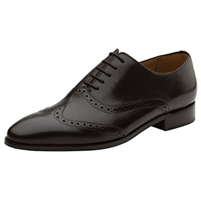DAPPER SHOES CO. Handcrafted Men's Classic Brogue Oxford Wing-Tip Lace Up Genuine Leather Lined Perforated Dress Shoes | Oxfords