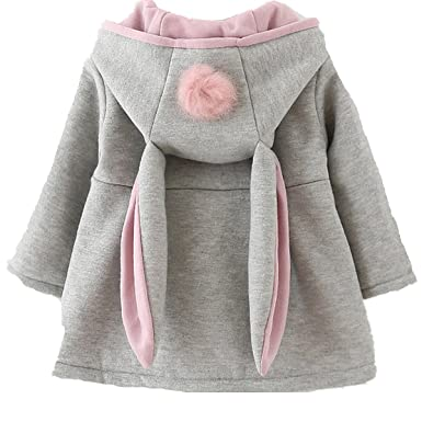 Cystyle Wintermantel Mädchen Babys Jacken Kapuzenjacke Mädchenjacke Kapuzen  Kaninchenohren Baby Mantel mit Kapuze (73  f0ea57e35a